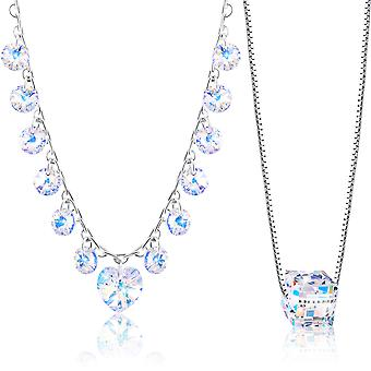 Rhodium plated necklaces with swarovski crystal. pendant necklace. by 2splendid. 2 for 1. gift box included. nnqz014