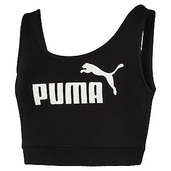 Puma Essentials Logo Womens Ladies Fitness Fashion Crop Top T-Shirt Black