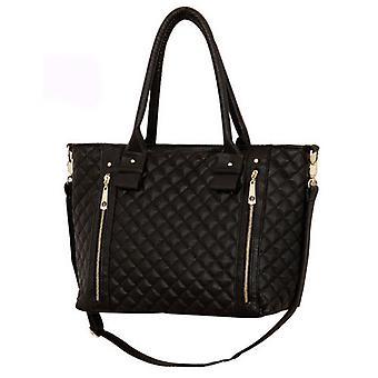 Quilted style cross body handbag black