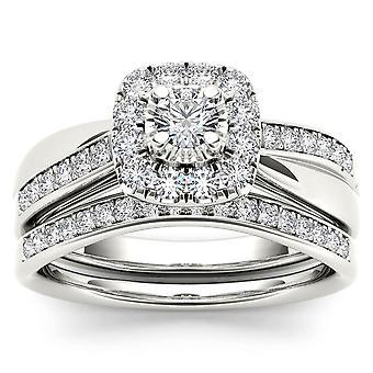 IGI certifié 14 K or blanc 5/8 CT TDW Diamond Halo mariée Set (I-J, I2)
