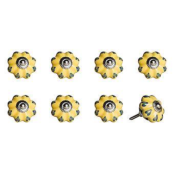 "1.5"" x 1.5"" x 1.5"" Ceramic Metal Yellow Green 8 Pack Knob"