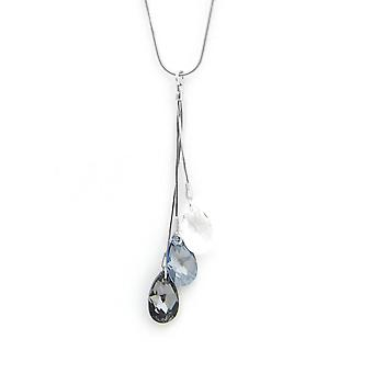 Necklace and pendant Teardrop Indicolite, CO3LARM001 - necklace and pendant Silver 925/00 crystals Swarovski white and gray woman