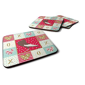 Set of 4 English Pouter Pigeon Love Foam Coasters Set of 4