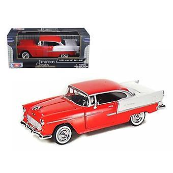 1955 Chevrolet Bel Air Red 1/24 Diecast Model Car By Motormax