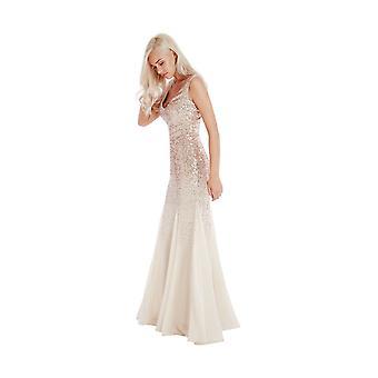 Goddiva Champagne Sequin Chiffon Inserts Maxi Bridesmaid's Dress