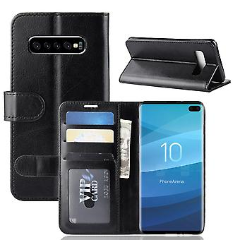 For Samsung Galaxy S10 Plus Case, Black Horse Texture Stand Flip Wallet Cover