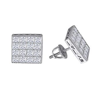 925 Sterling Silver Mens Womens Unisex Princess CZ Stud Cluster Square Fashion Earrings Measures 1 Jewelry Gifts for Men