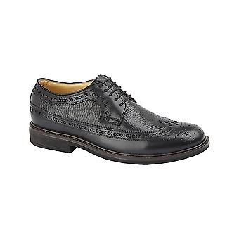Roamers Black Leather Full Fitting 5 Eye Lace Gibson Shoe