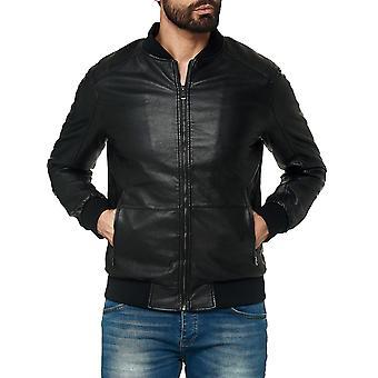 leather jacket men transition plain bomber jacket imitation leather biker