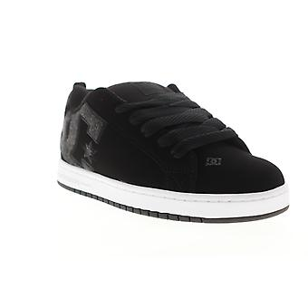 DC Court Graffik SE  Mens Black Nubuck Leather Athletic Skate Shoes