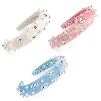 3cm Pastel Colour Velvet Effect & Pearl Look Heart Design Padded Alice Headband