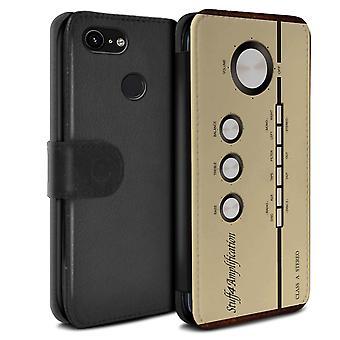 STUFF4 PU Leather Wallet Flip Case/Cover for Google Pixel 3/Amp/Amplifier/Retro Tech