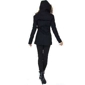 Alpine Swiss Duffy Womens Black Wool Coat Fur Trim Hooded, Black, Size X-Large