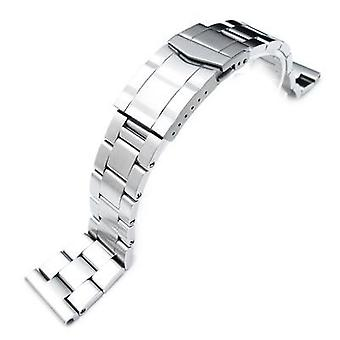 Strapcode watch bracelet 19mm, 20mm or 21mm super oyster watch band universal straight end version, solid submariner clasp