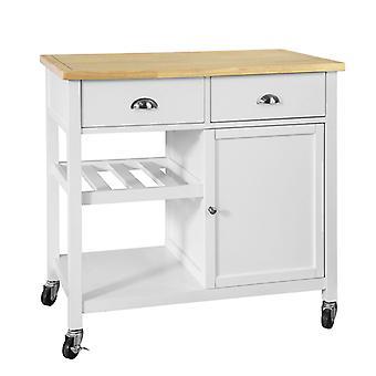 SoBuy Küche Schrank Trolley mit Holz Arbeitsplatte, FKW62-WN