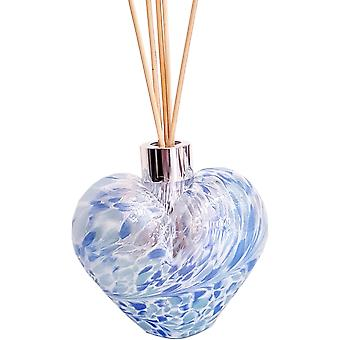 Amelia Art Glass Heart Shaped Reed Difusor Branco Sage Azul