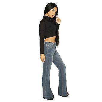 Long Leg Bootcut Jeans with Cut Off Ends