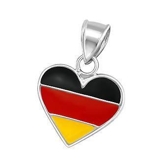 Germany Heart - 925 Sterling Silver + Epoxy Colour Pendants - W13774x