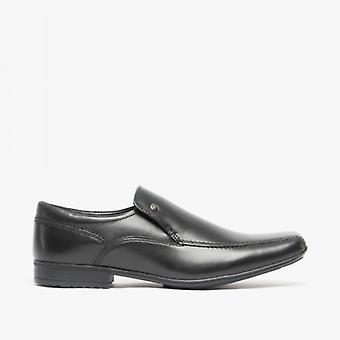 Avant Belmont Mens Leather Tramline Loafers Noir