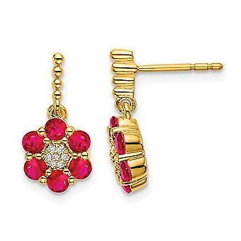 14K Yellow Gold 1.05 Carat (ctw) Natural Ruby Flower Earrings with Accent Diamonds