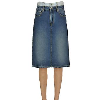 Maison Margiela Ezgl038118 Women's Blue Cotton Skirt