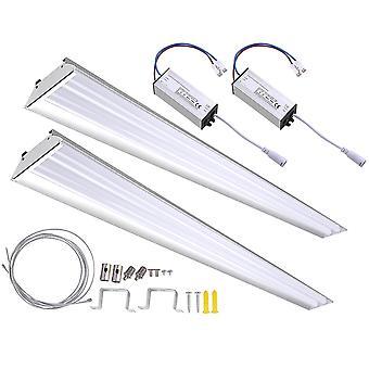 DELight 2-Pack 40W LED Shop Light 5000K 4000-4500lm Garage Work Shop Hanging Light Feature Ceiling Light Aluminum