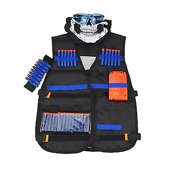 Childrens Black Tactical Gun Accessories Waistcoat - Ammo Holder Elite Pistol Bullets Darts For Nerf Mask Goggles Type - Set Of 6 Pieces