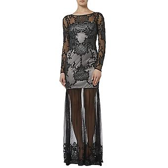 Black and silver embellished sheer maxi gown