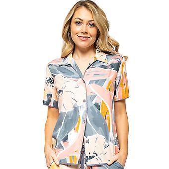 Cyberjammies Hallie 4515 Kvinnor's Peach Mix Abstrakt Tryck Pyjama Top