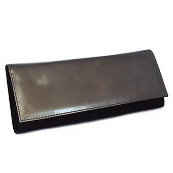 بيتر كايزر Winifred مساء حقيبة مخلب في الأسود جلد الغزال فو الحديد الجلود