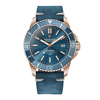 Meccaniche Veneziane 1302017 Nereide Rose Gold Tone Blue Bezel Automatic Wristwatch
