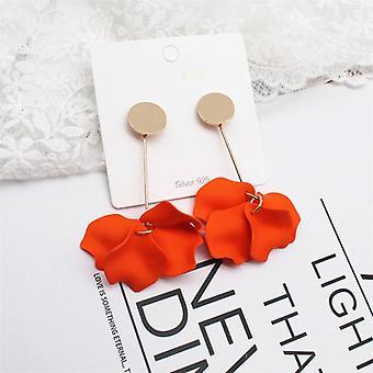 Elegante Orange Rose Blütenblatt Tropfen Ohrringe