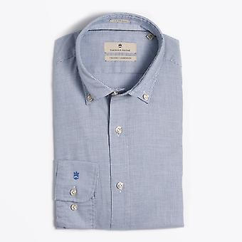 Thomas Maine  - Button-Down Houndstooth Shirt - Blue