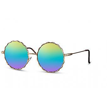 النظارات الشمسية السيدات جولة القط بلا حواف. 3 ذهب/ قوس قزح