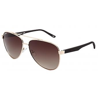 Sunglasses Unisex Aviator polarized gold/matt brown (P75602)