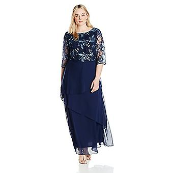 Le Bos Women's Size Embroidered Dress Plus, Navy, 22W