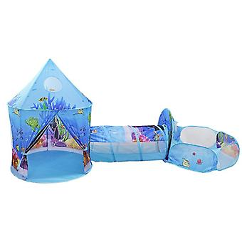 Kids Tent House Play Toys, Tunnel Crawling Playhouse Castle Ocean Ball Pool Pit