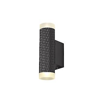 Éclairage Luminosa - 2 Lampe murale lumineuse GU10, Noir de sable, Anneaux acryliques