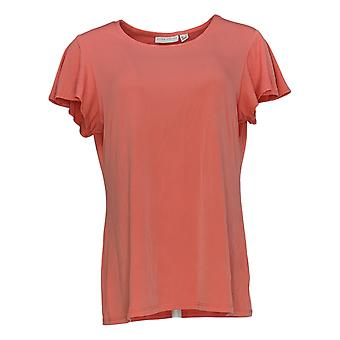 Susan Graver Women's Regular Top Scoop-Neck Flutter Sleeve Orange A352187