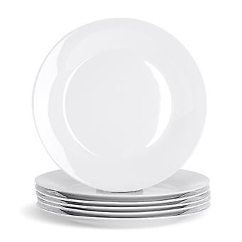 "24 Piece White Dinner Plate Set - Klassieke porseleinen eetplaten met brede rand - 268mm (11"")"