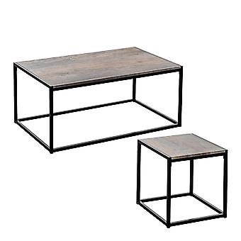 Industrial Coffee Table & Side Table - Light Wood / Steel Frame - Set of 2