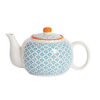 Nicola Spring Käsin painettu teekannu - Japanilaistyylinen posliini teekannu kannella - sininen - 820ml