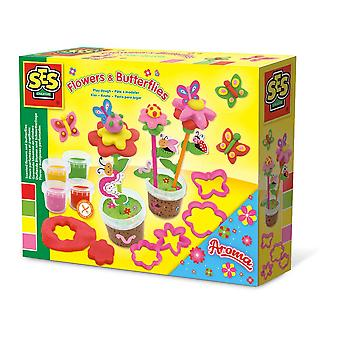SES Creative Children's Play Dough Flower and Butterflies Set 4 Pots (00433)