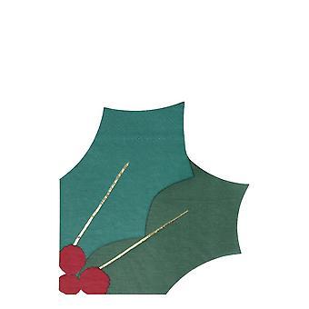 Meri Meri Holly Lehti chistmas juhlapöytä lautasliinat x 16