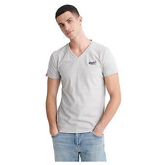 Superdry Orange Label Vintage V-Neck T-Shirt - Silver Glass Feeder - XXXXL