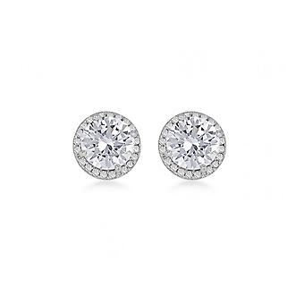 Eternity Sterling Silver Round Cubic Zirconia Halo Stud Boucles d'oreilles