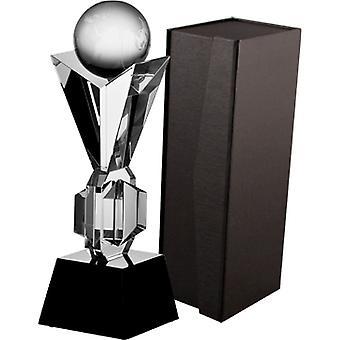 Troféu de vidro com mala
