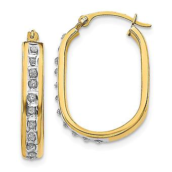14k Yellow Gold Polished Diamond Fascination Squared Hinged Hoop Earrings Jewelry Gifts for Women