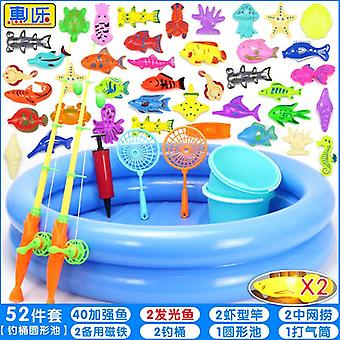 Children Boy Girl Fishing Toy Set Suit Magnetic Water Fish Square Play Toy