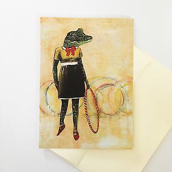 Retro Alligator Hula Hoop - Tervehdyskortti